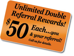 Refer a new customer to us and you each get $50 in services or product